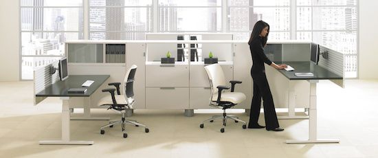 Teknion Livello Height Adjustable Tables With District Storage