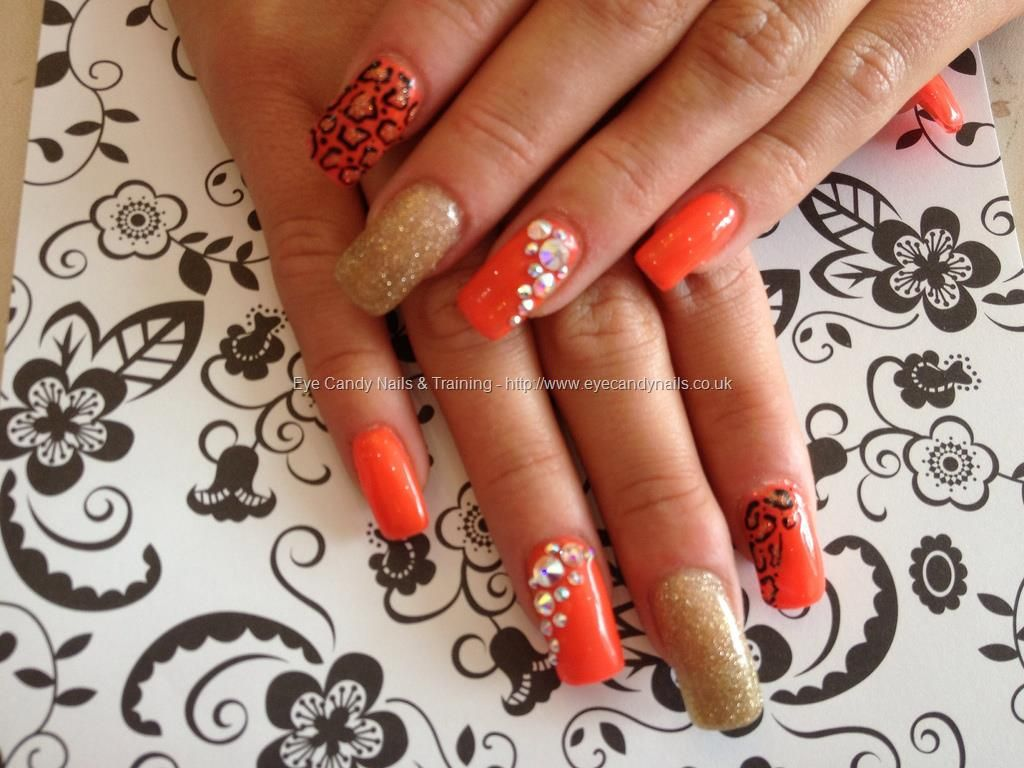 Found another great nail design re pin and share for others tab eye candy nails training acrylic nails with orange and gold nail art by nicola senior on 14 june 2013 at prinsesfo Image collections