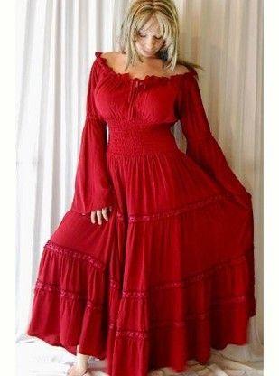 Boho Peasant Smocked Dress Red By Curvyclothing On Curvymarket