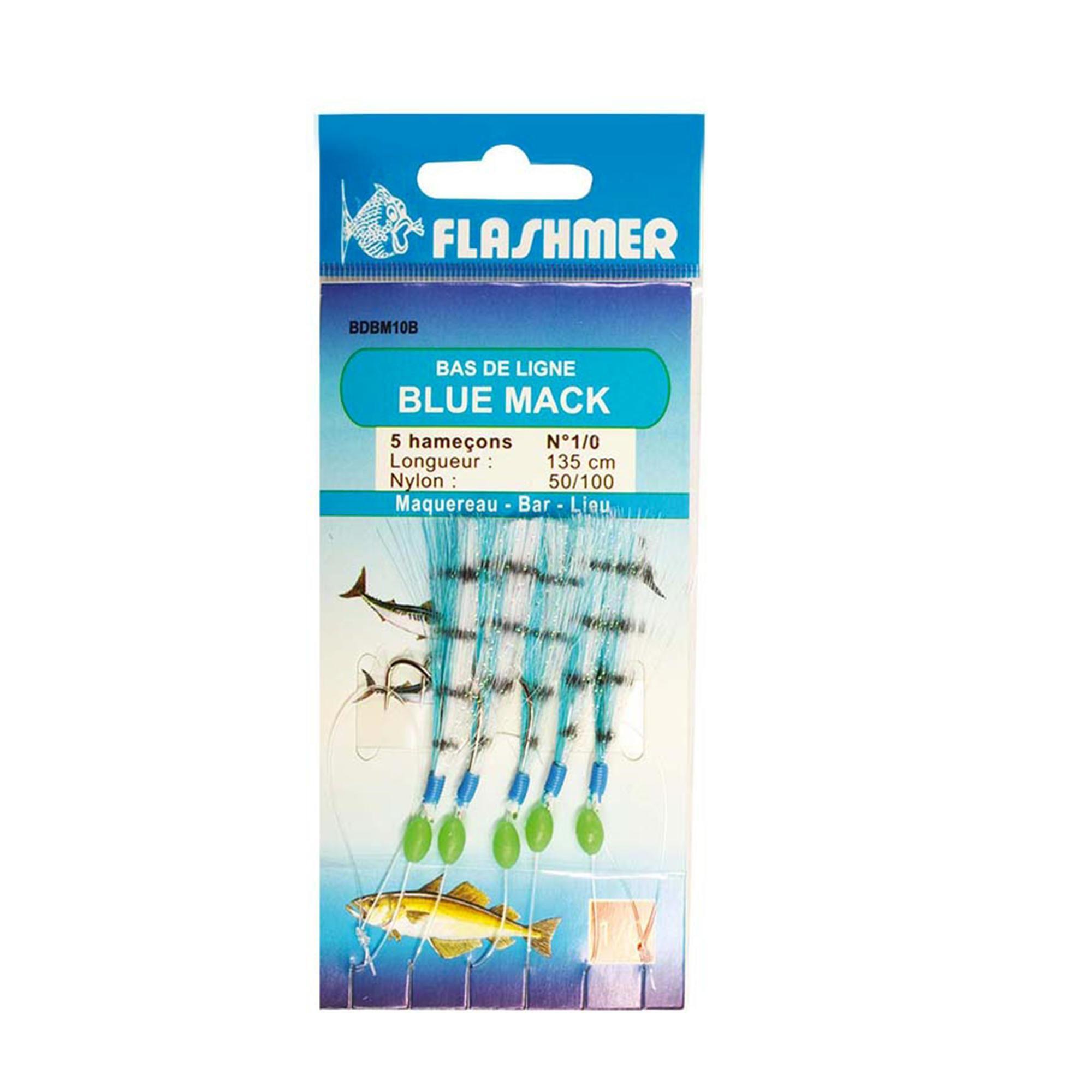 Bas de ligne Blue mac 5 hameçons 1/0 vert pêche en mer Ce bas de ligne est conçu pour la pêche du bar et des autres carnassiers marins. Ce bas de ligne est spécialement conçu pour la pêche des gros poissons. Ces 5 plumes imitent des petits maquereaux dont les prédateurs raffolent..Pour les gros poissons