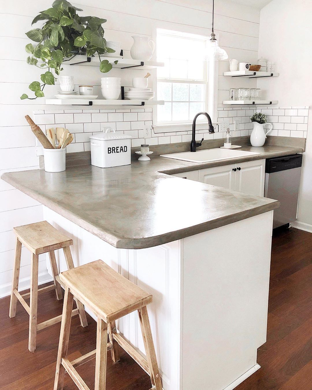 Our Vintage Enamel Bread Box Is A Farmhouse Favorite It Looks So Fun In This Simply Styled Farmhouse Kitchen Farmhouse Sink Kitchen Modern Farmhouse Kitchens