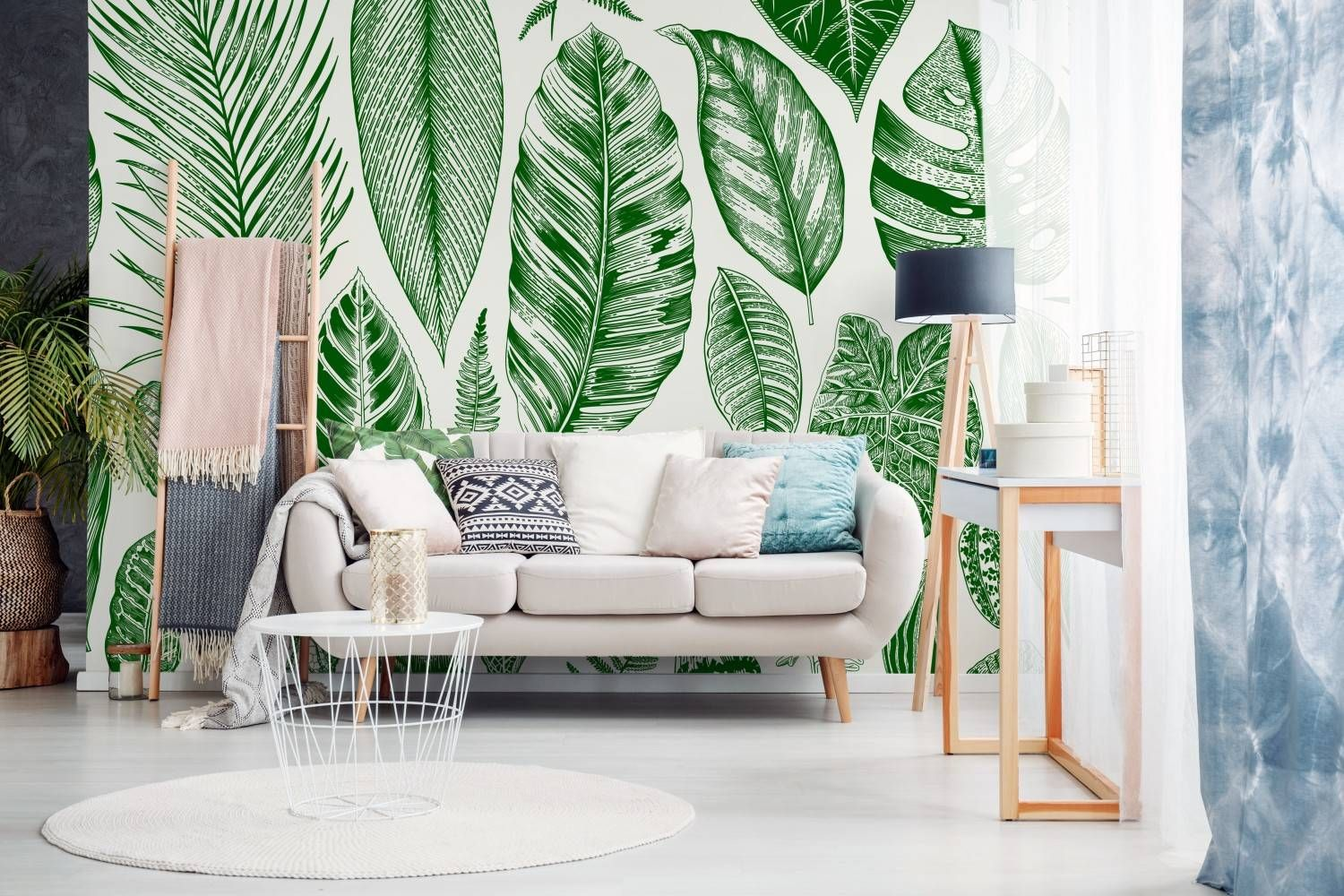 All about leaves • Scandinavian - Living room - Nature - Flowers and plants - Wall Murals ✓ 365 Day Money Back Guarantee ✓ Consulting on the Pattern Selection ✓ 100% Safe✓ Set up online!
