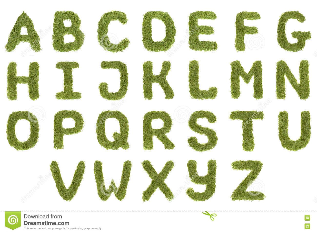 Photo about Green alphabet A-Z font letters isolated on ...
