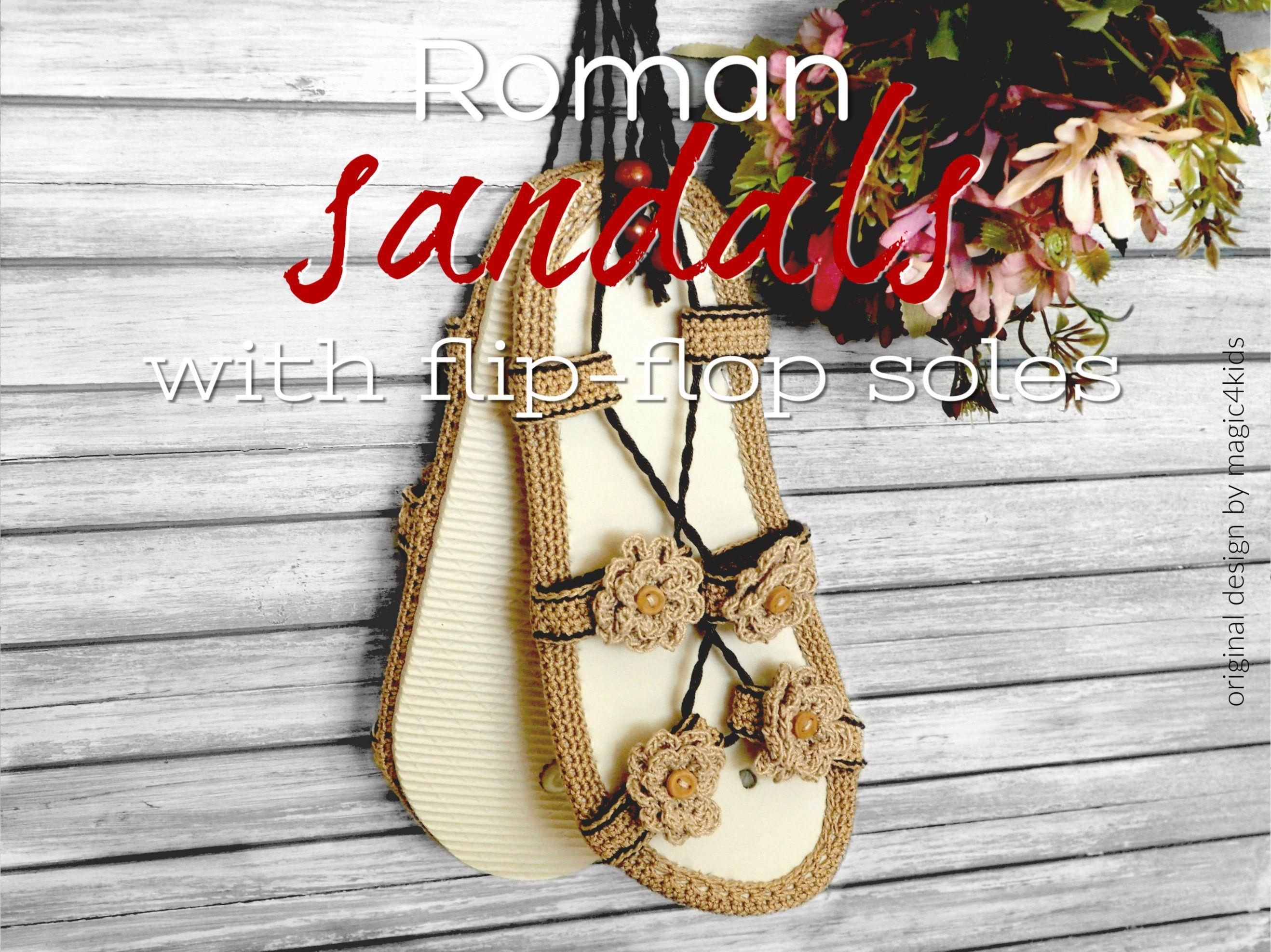 afcabe318b7f4 CROCHET PATTERN- Roman sandals on flip-flop soles,all women sizes ...