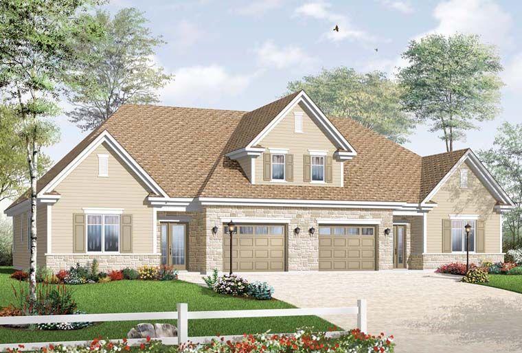 European Style Multi Family Plan 64845 With 3 Bed 2 Bath 1 Car Garage Duplex Floor Plans Duplex House Design Duplex House Plans