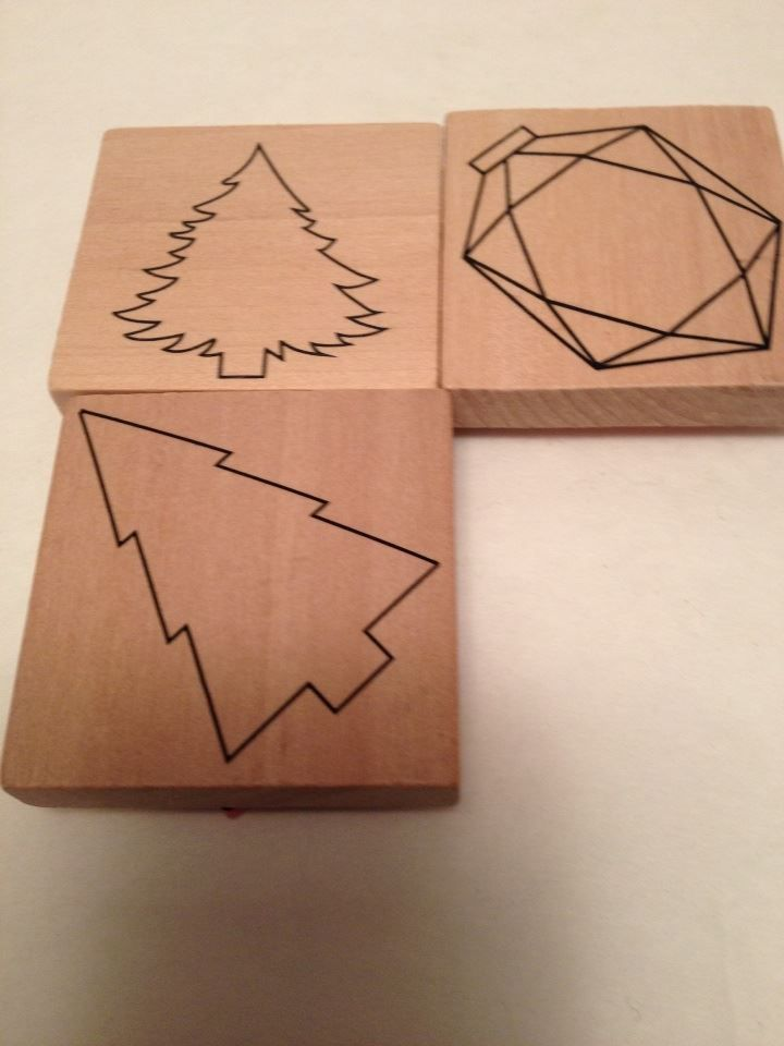 LOT OF 3 CHRISTMAS TREES and ORNY RUBBER STAMPS New, VERY THIN holiday stamps #unbranded