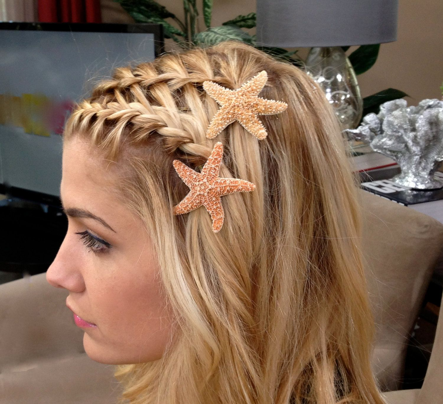 waterfall braided bangs with starfish hair hair and updos