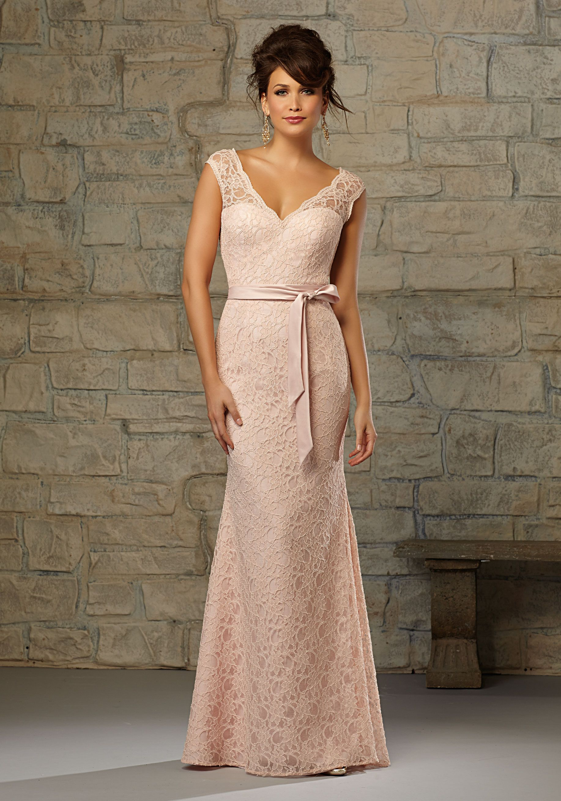 Romantic lace bridesmaid dress with matching satin tie sash and romantic lace bridesmaid dress with matching satin tie sash and cap sleeves designed by madeline ombrellifo Choice Image
