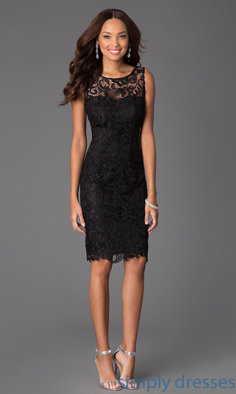 Sleeveless Lace Knee Length Cocktail Dress in 2019  posh frock  Dresses Lace dress Knee