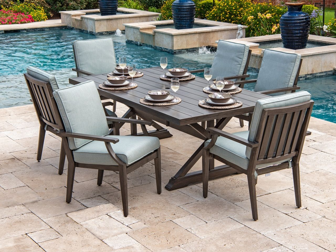 Outdoor Patio Monaco Weathered Teak Aluminum 7 Pc Cast Mist Cushion Dining Set With 84 X 44 In Dining Table 7084775 In 2020 Weathered Teak Rectangular Dining Set Outdoor Furniture Sets