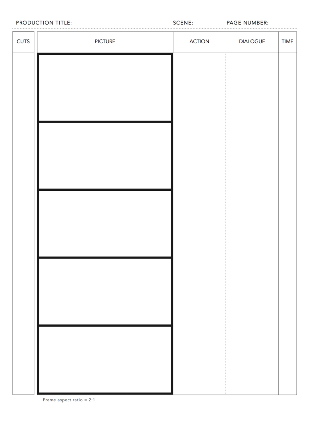 free pdf anime storyboard template for 2 1 aspect ratio on din a4 vertical for print  u0432 2020  u0433