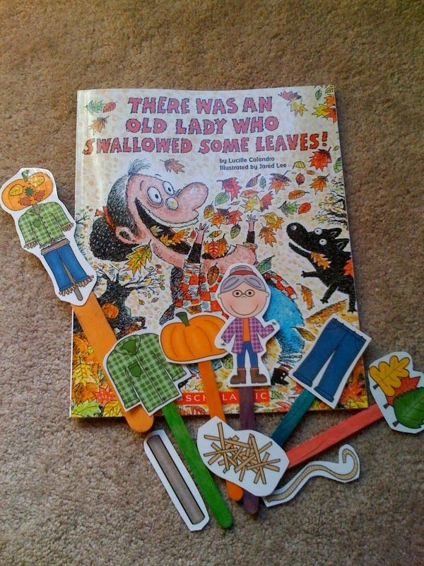 Preschool Printables: Old Lady Who Swallowed Leaves ...