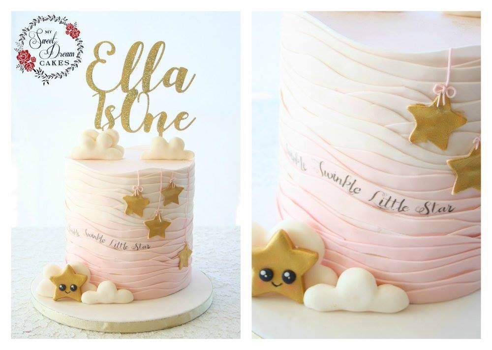 Twinkle twinkle little star themed first birthday cake by