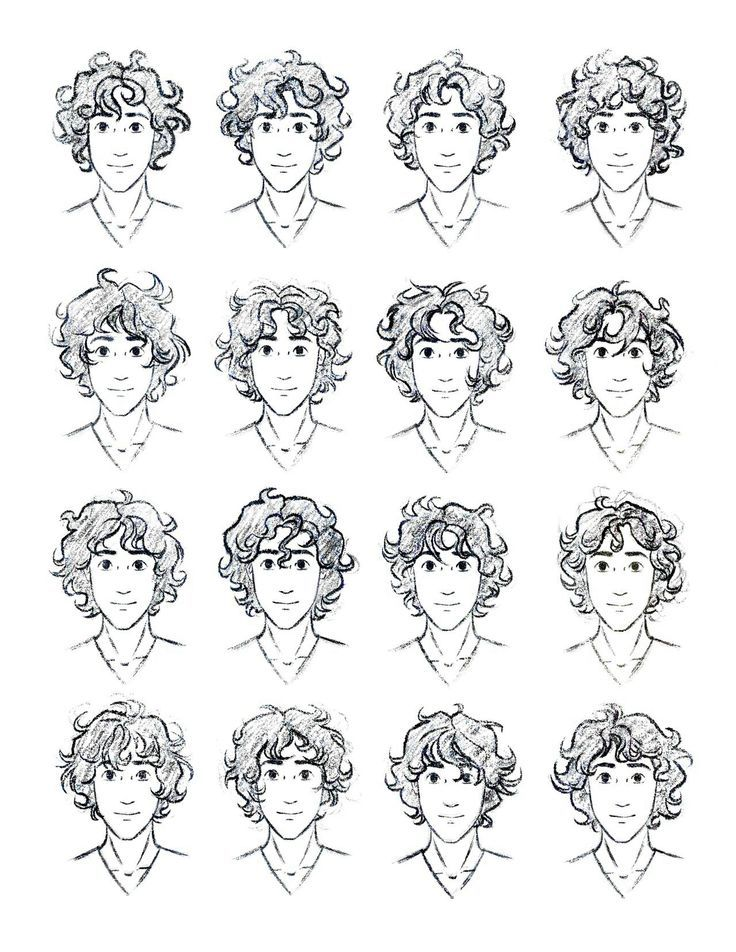 draw curly hair male - szukaj