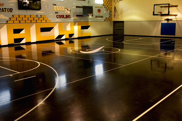 Basketball Court Made From Nike Sneakers Home Basketball Court Indoor Basketball Court Basketball Court Flooring