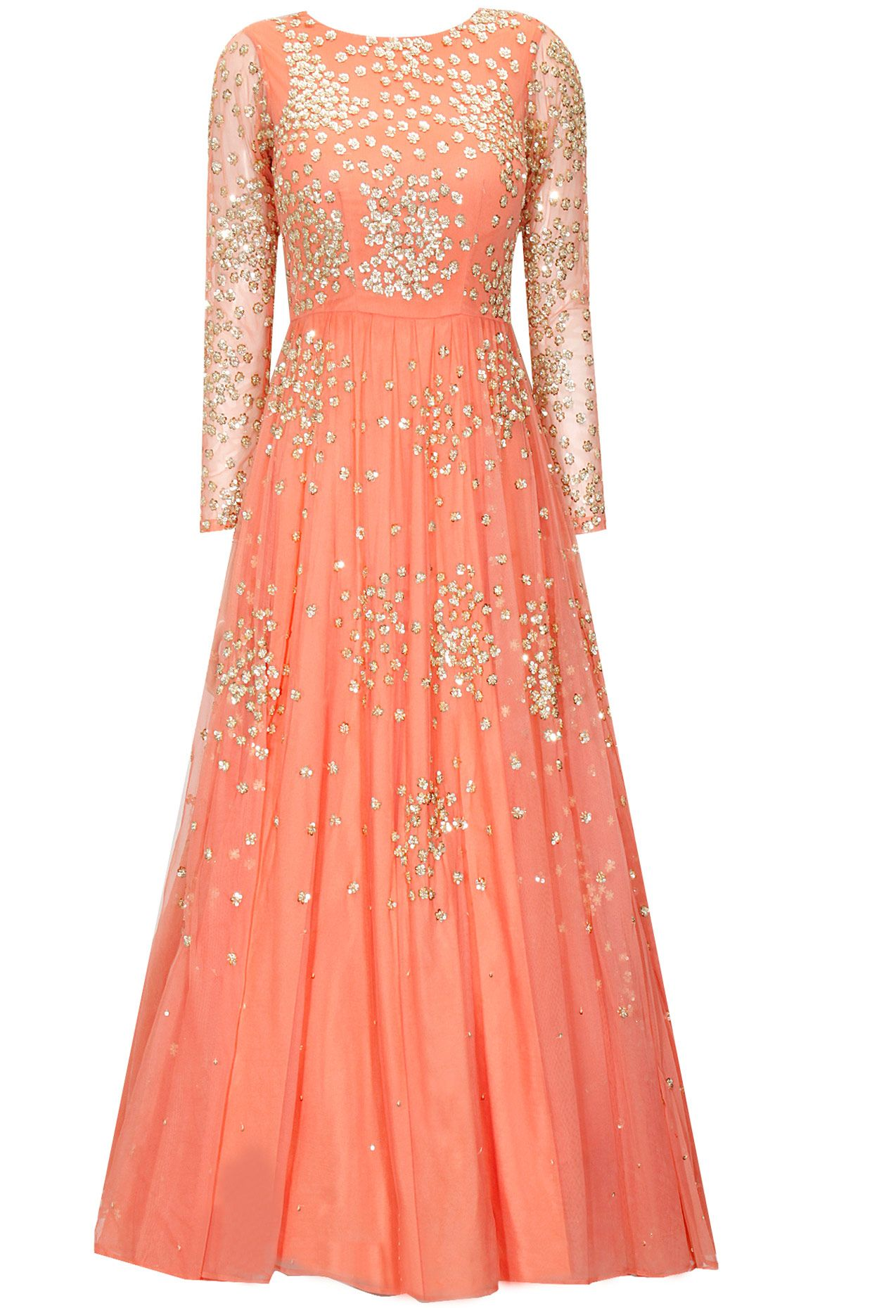 0b84ebf1b394 Coral peach shimmer anarkali gown available only at Pernia's Pop-Up Shop.