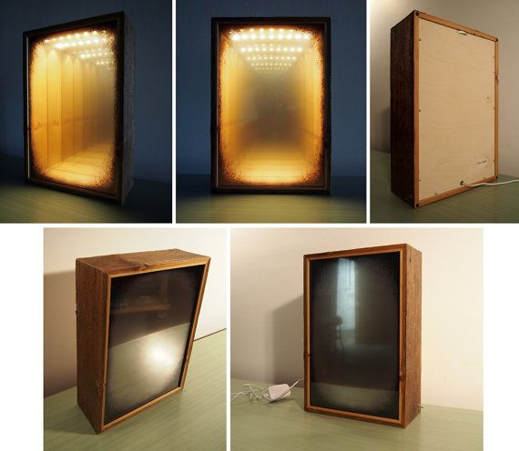 LIGHTBOX Infinity Mirror   Optical Illusion   Grungy Dirty Design    Reclaimed Barn Wood   Soft LEDs Lighting   Wall Or Table Lamp   Handmade
