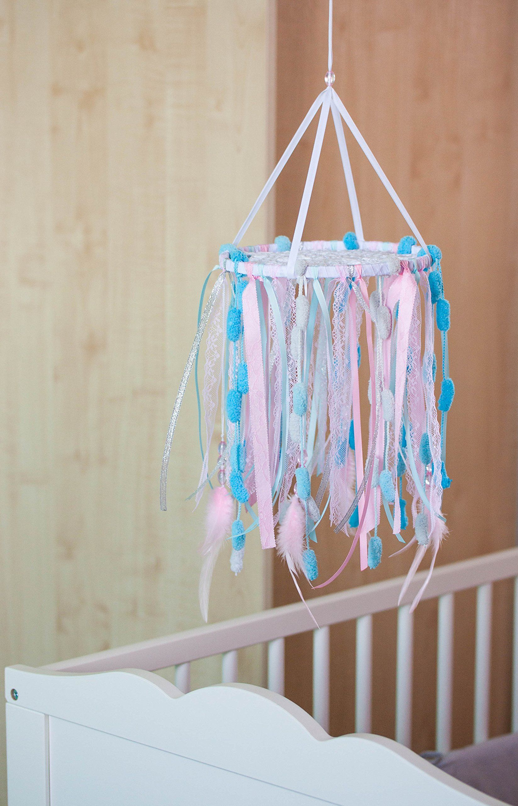 Crib Mobile Dreamcatcher, Baby Nursery Dream Catcher 8`/20 cm , Girls Nursery Dreamcatcher Mobile, Nursery Decor Pink Sky Blue Baby Room Decor, Baby Shower gift. This dreamcatcher crib mobile made as crochet doily on wooden hoop with hanging lace, ribbons and fibres, feathers, beads Colors - white, sky blue, pink and siver Diameter - 8 inches (20 cm) Height - about 12 inches (30 cm).