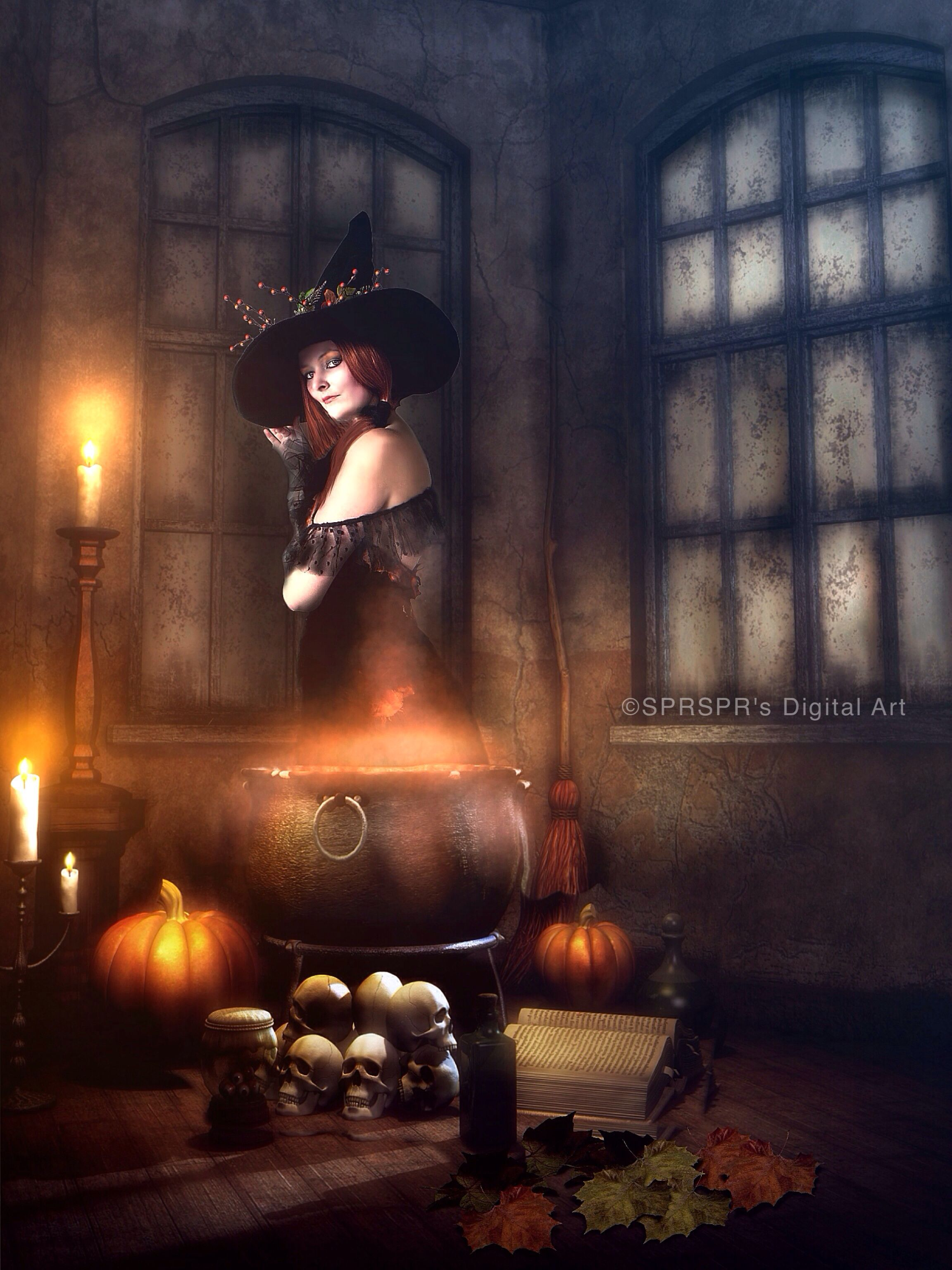 Autumn Witch  Credits Background http://moonchild-ljilja.deviantart.com/art/Halloween-Eve-Free-background-406379487 Model http://mizzd-stock.deviantart.com/art/Autumn-Witch-Portrait-2-66148810 Leaves http://moonglowlilly.deviantart.com/art/Png-Leaves-341165323. #sprsprsdigitalart #fantasy #halloween #photomanipulation #ipadart #witch