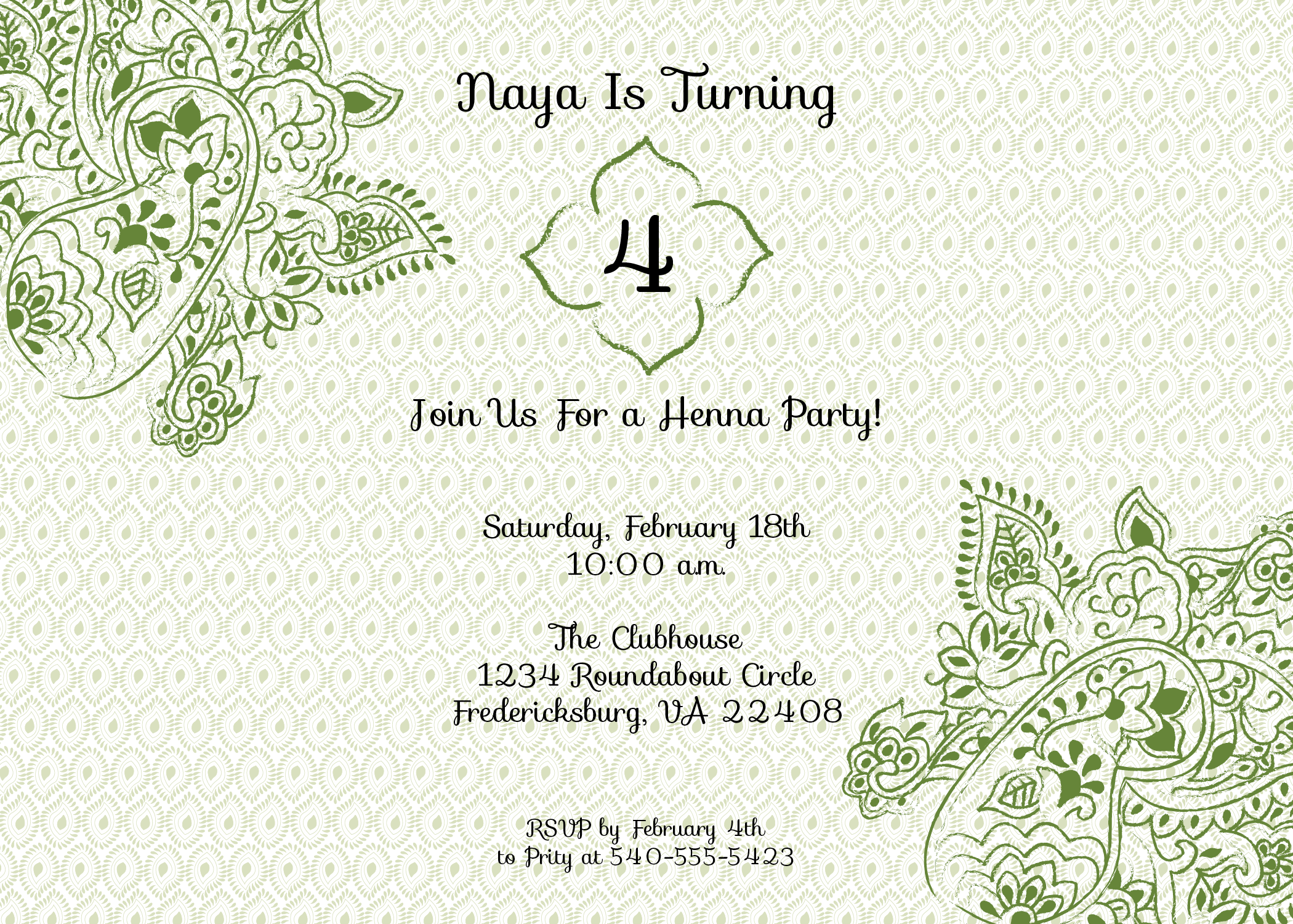 Birthday Party Invitation Henna Birthday Party Invitation