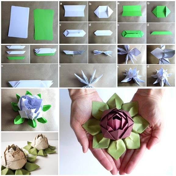 Diy Origami Lotus Flower 3 Flor De Loto Origami Manualidades Loto De Papel