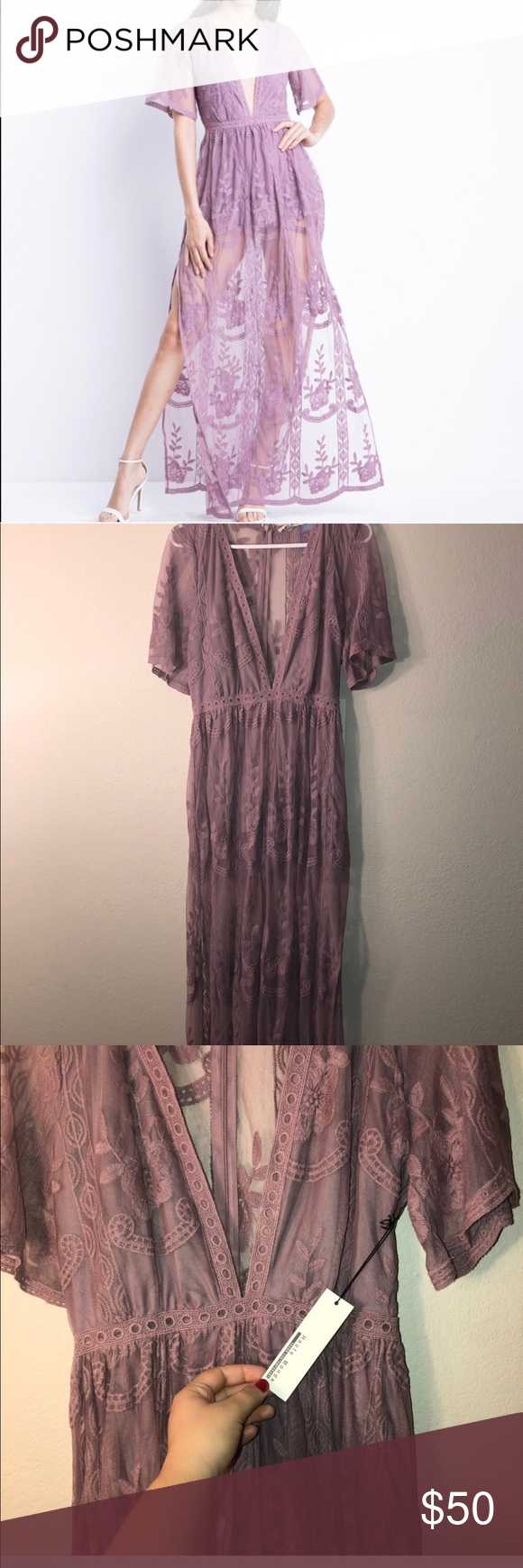 5800c8e0d696 Lilac lavender Lace embroidered romper maxi dress HAUTE MONDE SEND ME ANY  KINDS OF OFFERS