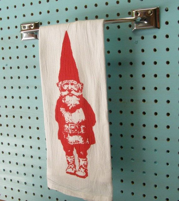 Kitchen Towel Gnome   CUTE Black Vintage Red Tea Towel Retro Kitchen   Screen Print   Indie Housewares