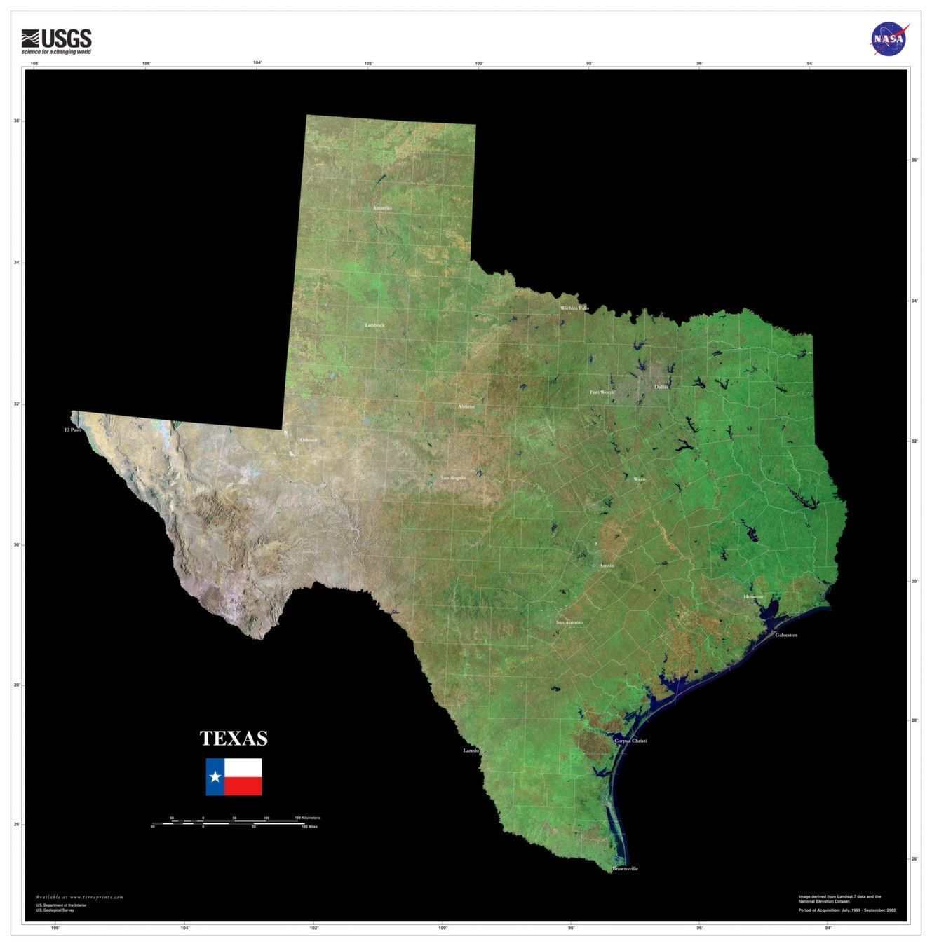 Texas Satellite Map The Texas Satellite Imagery State Map Poster | Map poster, Texas