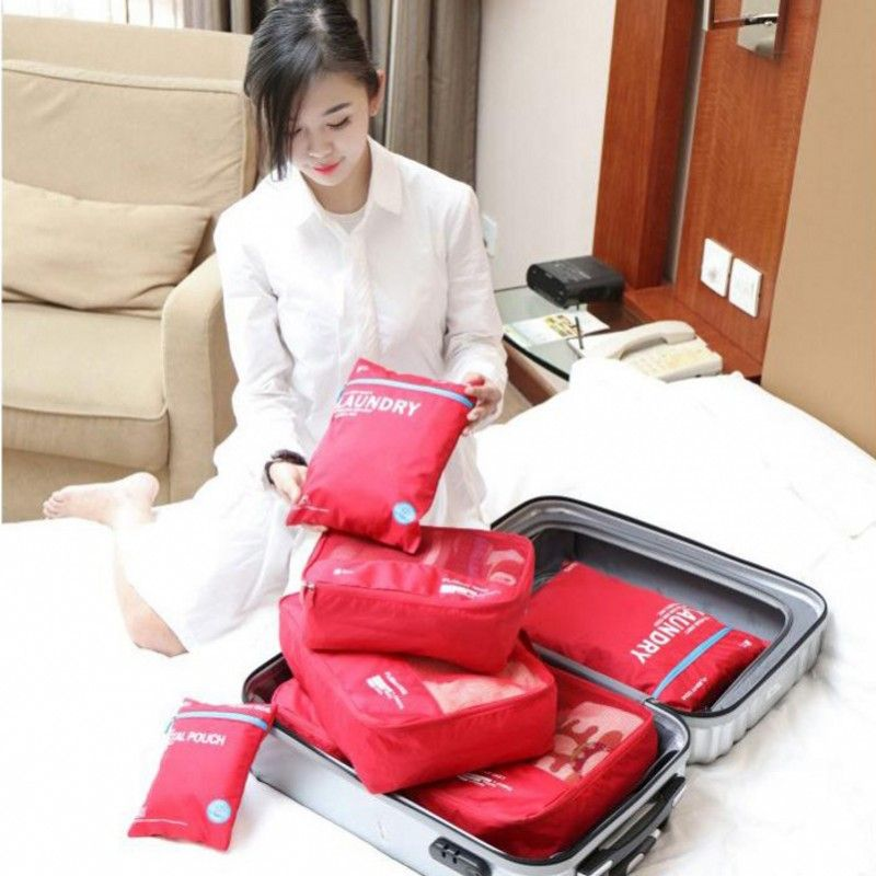 6PCS Travel Clothes Bra Underwear Storage Bag Makeup Cosmetics Toiletries  Pouch Family Closet Divider Holder Organizer