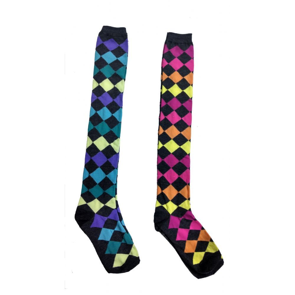 Over the Knee Thigh High Socks, Bright Argyle Patterns for Women and Girls, Assorted Colors, Size 9-11