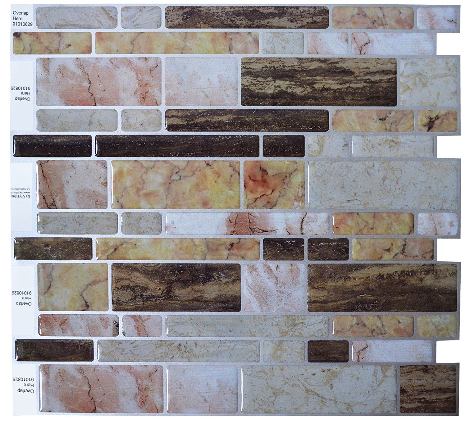 Crystilesa Peel And Stick Self Adhesive Vinyl Wall Tiles Multi Color Marble Style Itemno 91010829 10a X Vinyl Wall Tiles Diy Backsplash Tile Backsplash