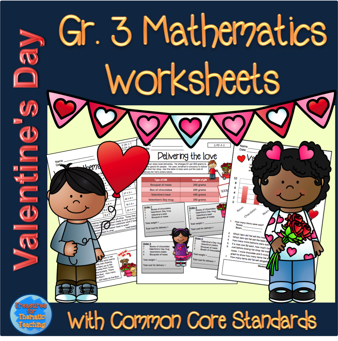 Valentine S Day Themed Mathematics Worksheets For Grade 3