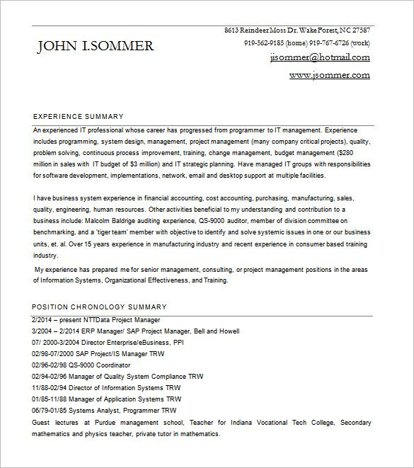 Project Manager Resume  Senior Project Manager Resume Sample