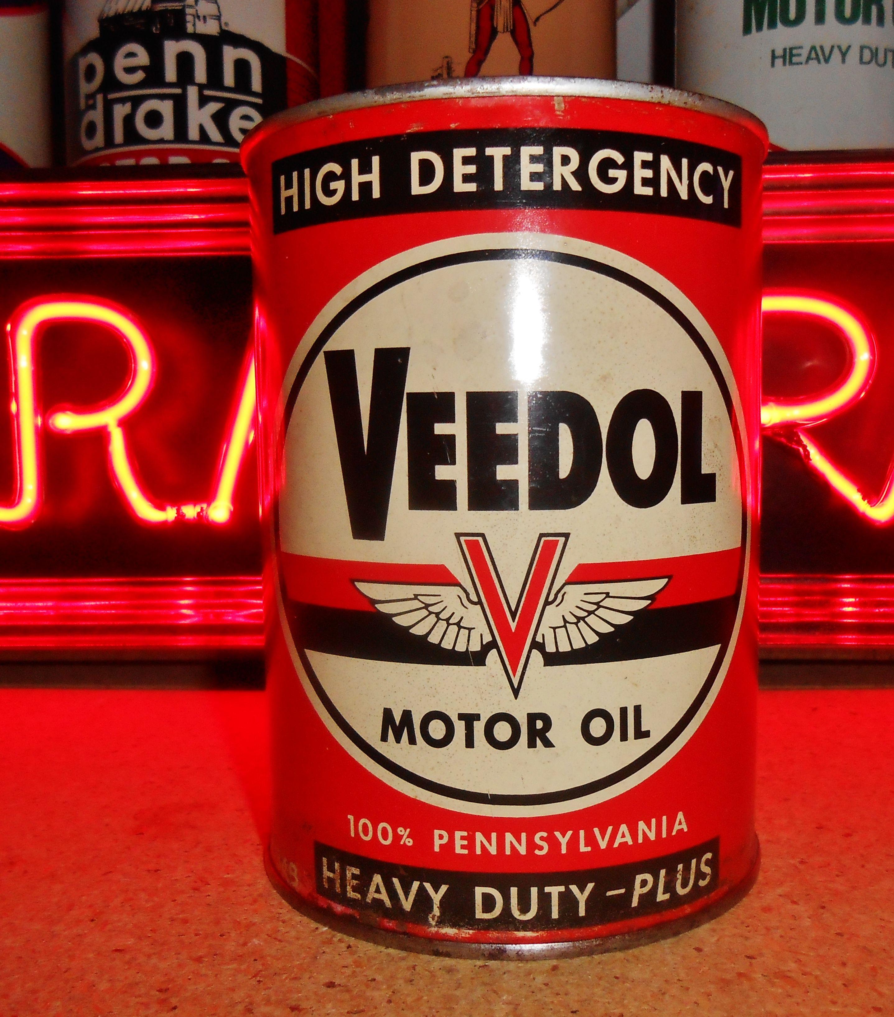 Vintage Veedol Motor Oil 1 Qt Full Metal Can Circa