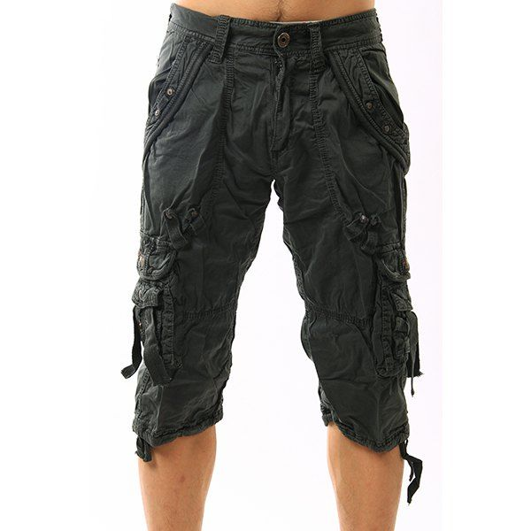 66627e91f6c Mulit-Pockets Design Plus Size Zipper Fly Narrow Feet Men s Capri Pants