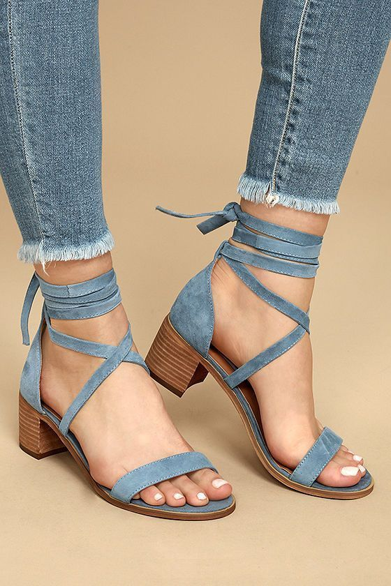 Steve Madden Rizzaa Light Blue Suede Leather Heeled Sandals is part of Shoes - Fashionable, yet sensible, the Steve Madden Rizzaa Light Blue Suede Leather Heeled Sandals are allaround winners! Genuine suede leather crisscrosses and ties around the ankle on this opentoe design