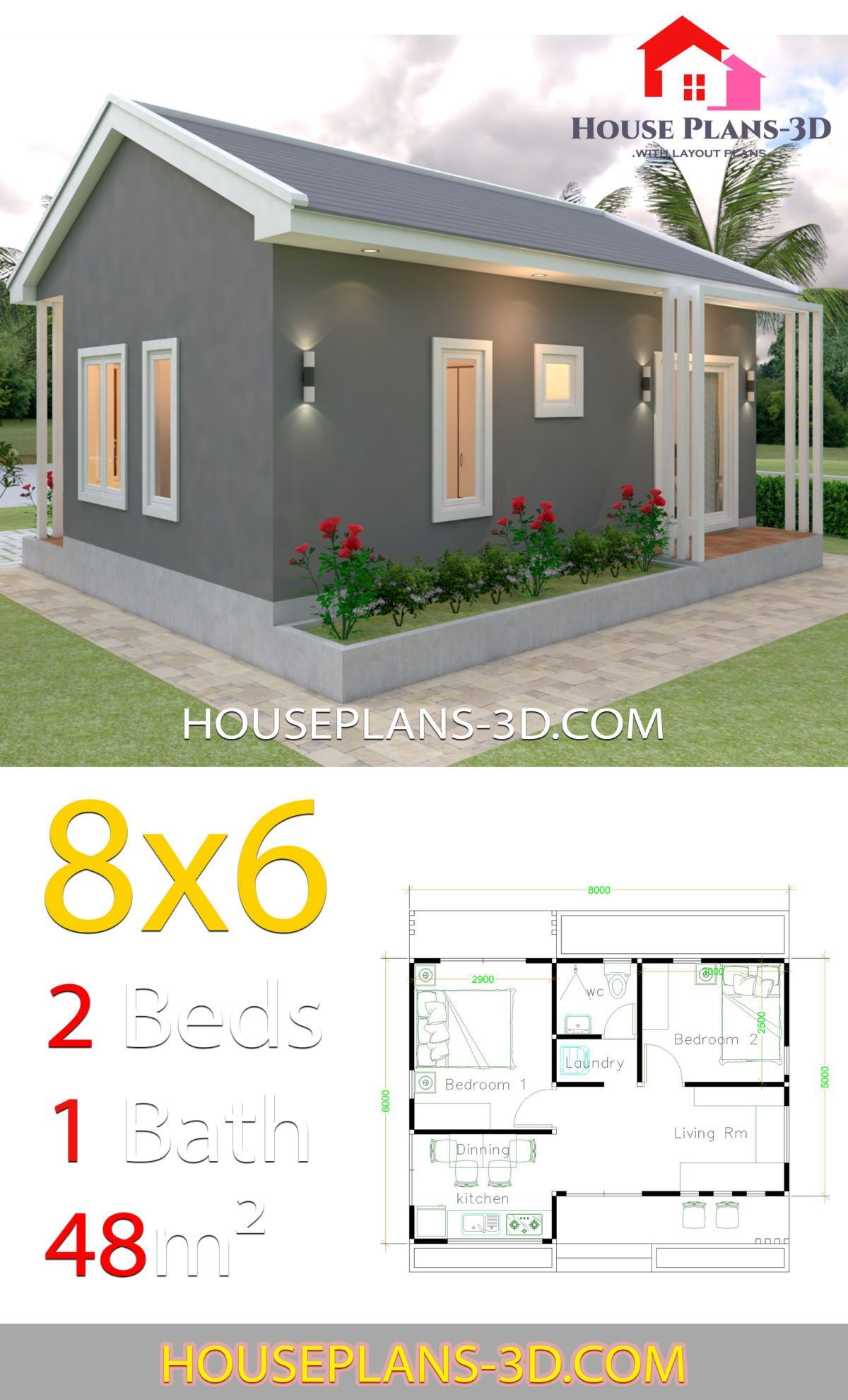 House Design Plans 8x6 With 2 Bedrooms House Plans 3d Haus Design Plans House Plans Home Design Floor Plans Home Design Plans