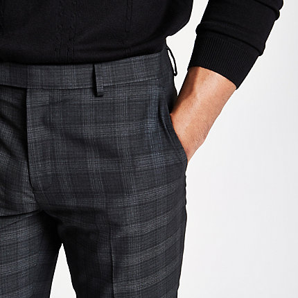 a2dce4d37e965 Mens Dark Grey check skinny fit smart trousers in 2019