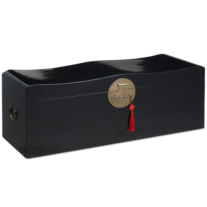 Large Chinese Wave Storage Trunk In Black Lacquer #StorageSolutions  #ChineseFurniture