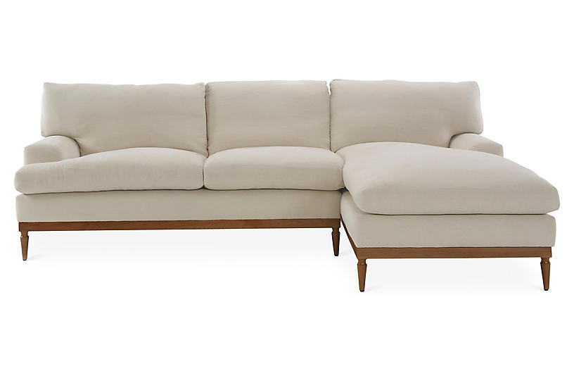 Sutton Right Facing Sectional Bisque Linen Sectional