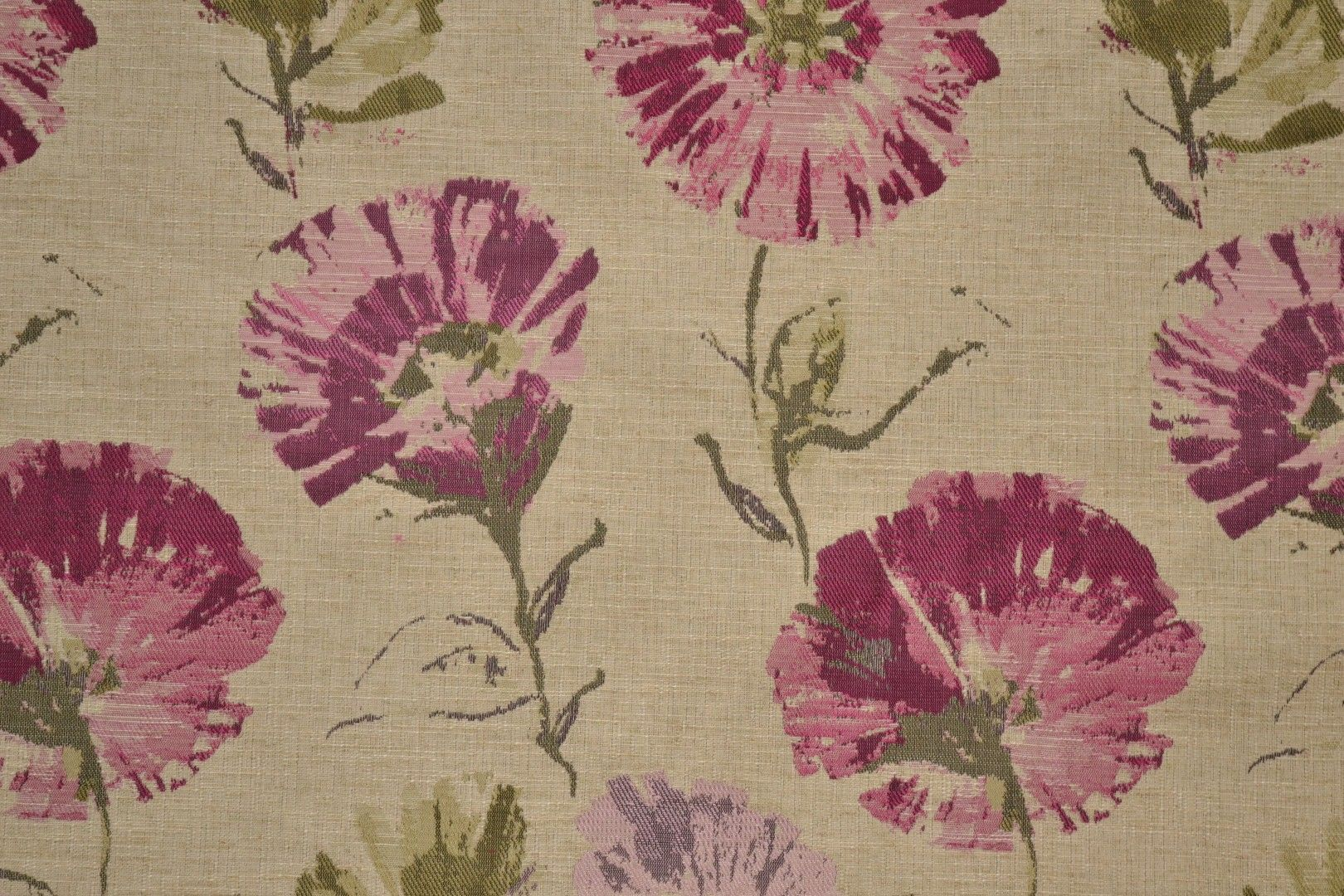 Woven Floral Fabric With Shades Of Fuschia Pink And Purple