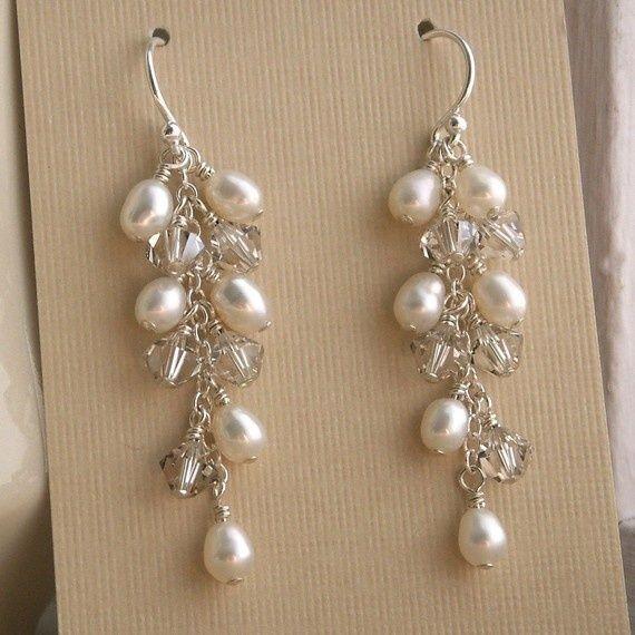 pearl wedding jewelry ideas Bridal jewelry Swarovski Crystal pearl