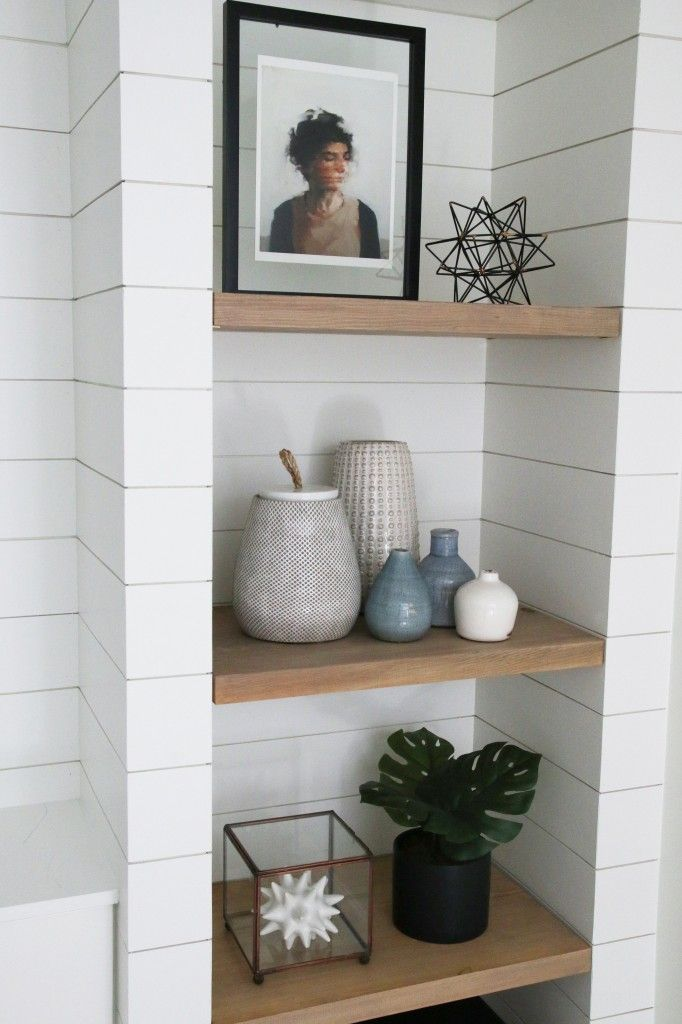 Diy Shiplapped Built Ins Finished And Styled Diy Crafts