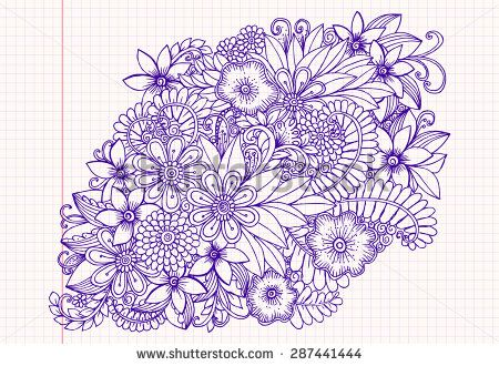 Hand drawing pattern  Floral doodle  Vector flowers - stock
