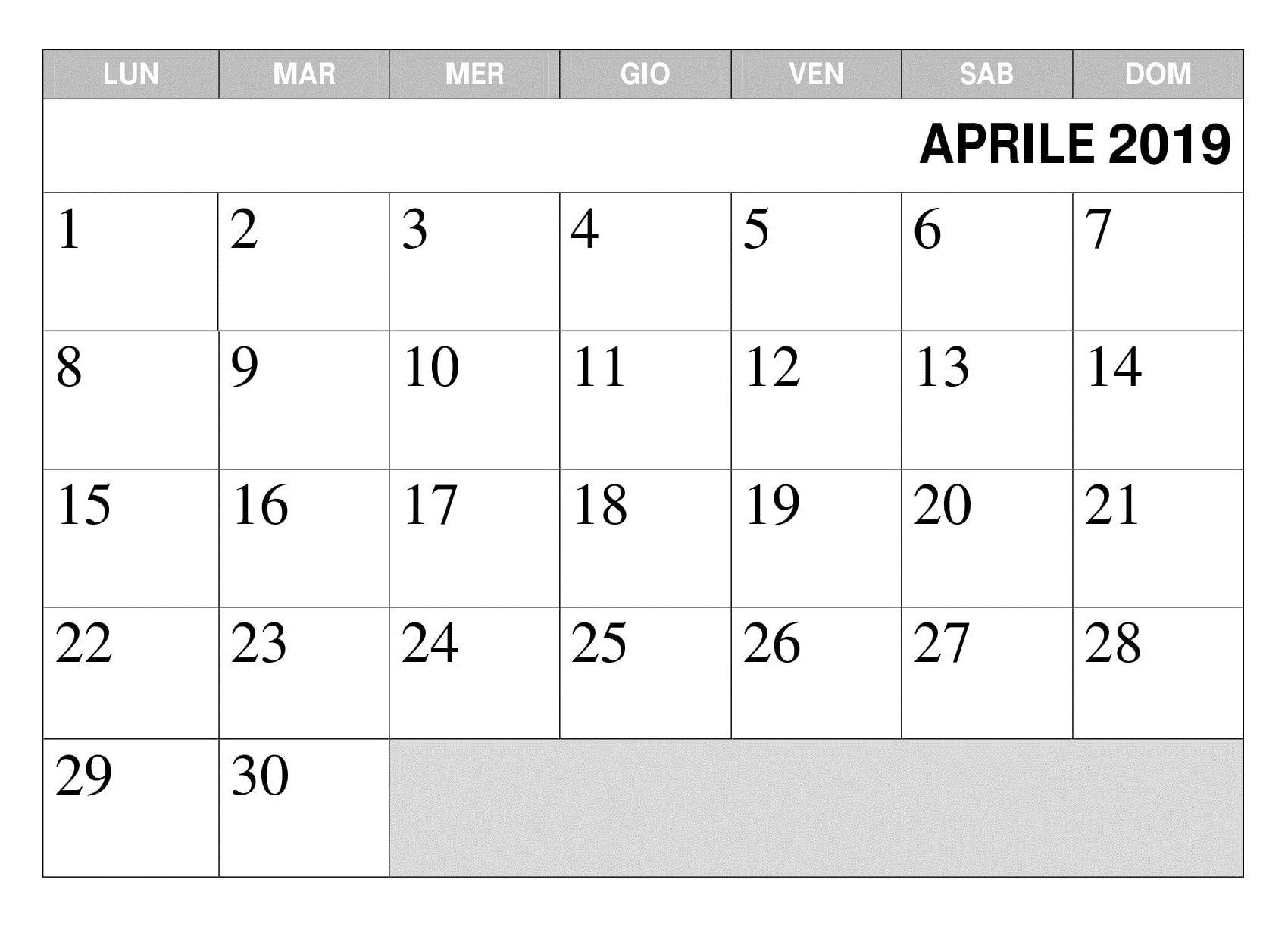 Modello Calendario Word.Aprile 2019 Da Stampare Modello Calendario Calendario