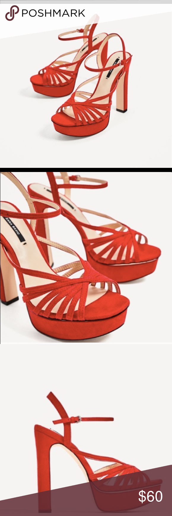 1b1e662692c Zara NWT red strappy platform heels size 41  10 Super cute brand new with  tags