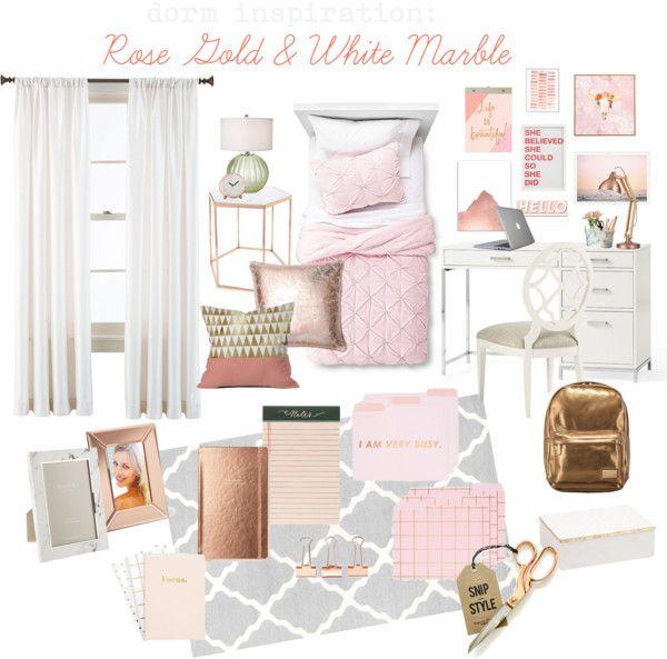 the lovely side dorm decor week rose gold white marble inspiration board interior dorm. Black Bedroom Furniture Sets. Home Design Ideas