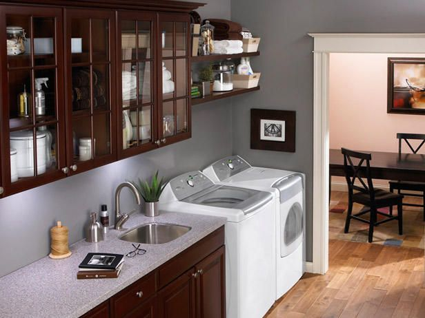laundry galley dark cabinets