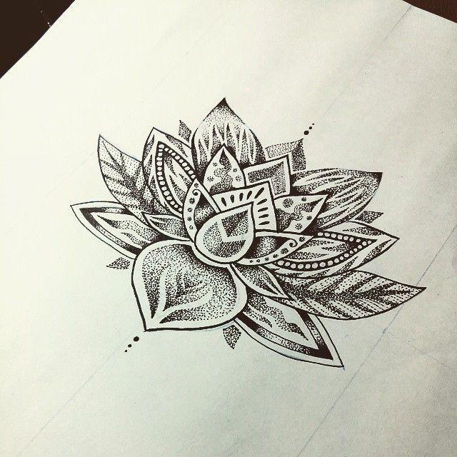 Diseño Flor De Loto Puntillismo Pedido De Cliente Tatuajes Para