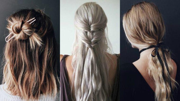 Donne con i capelli chiari e acconciature semplici con chignon e trecce 918121f43a9b